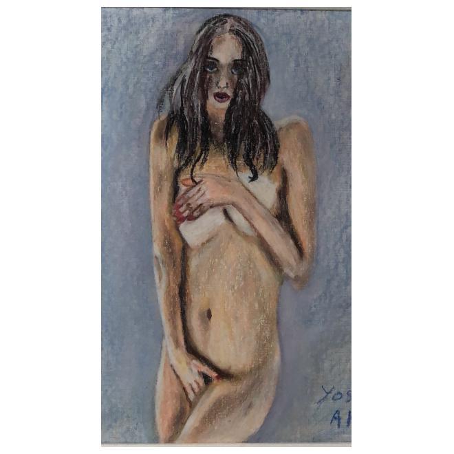 美少女裸婦、恥じらい