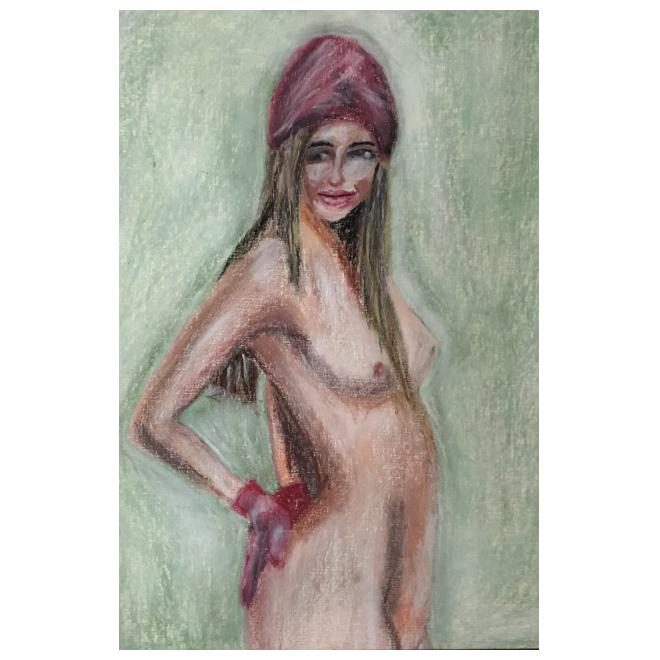 美少女裸婦、紅い帽子と手袋