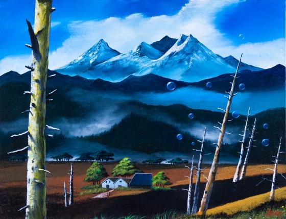 雪山とシャボン玉
