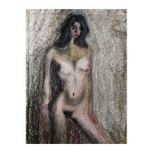 美少女裸婦、夕映え