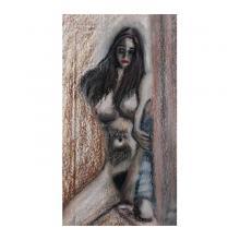 美少女裸婦窓際で