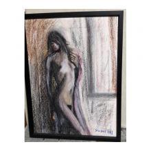 美少女裸婦、吐息