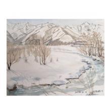 雪景色-1、白馬村の朝