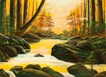 夕日の渓流