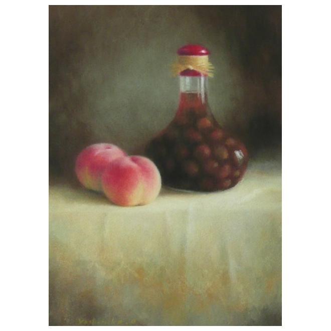 桃とデコレーションボトル