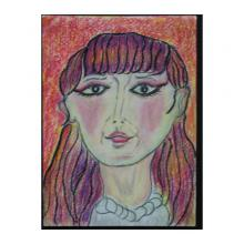 紫色の髪の女性