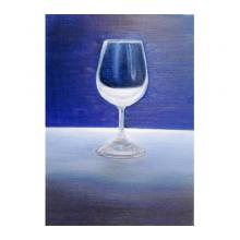 グラスと藍の空間 【額付き】