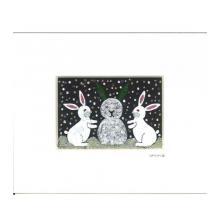雪だるまを作るウサギの兄弟