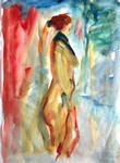 朱を背景にした裸婦